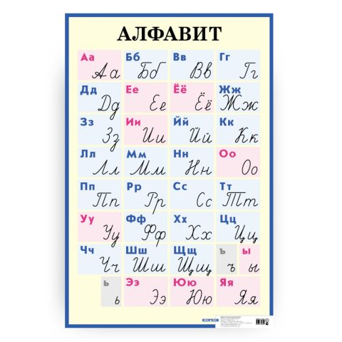 poster alfabeto russo - stampatello e corsivo