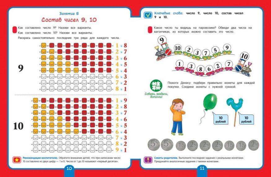 Книга Математика. Подготовительная группа. 6+ Рабочая тетрадь для детского сада разворот 2